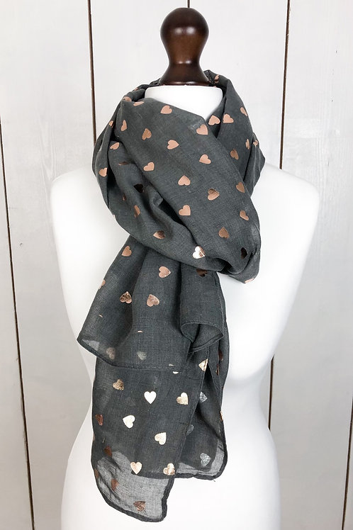 Grey Scarf With Rose Gold Foil Hearts
