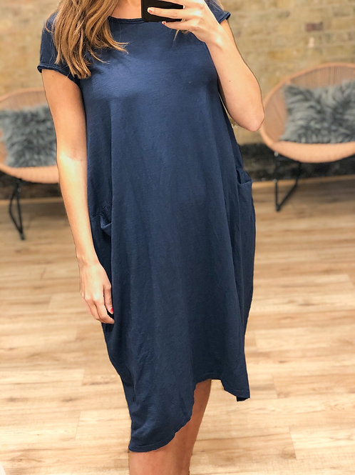 Cotton Dress With Pockets in Navy