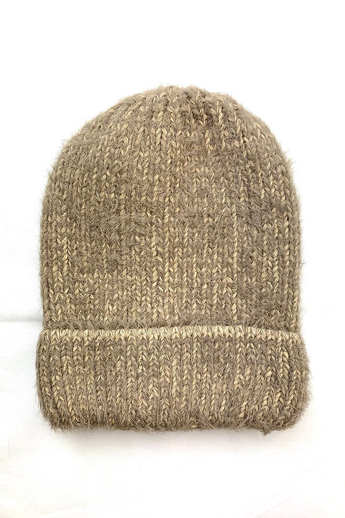 Stone Fluffy Knitted Beanie Hat