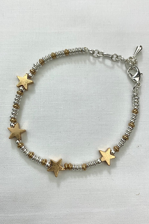 Gold And Silver Beaded Star Bracelet