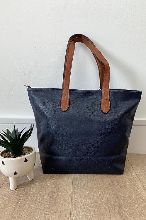 Navy Tan Strap Handbag