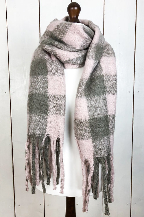 Pink & Grey Check Scarf With Tassels