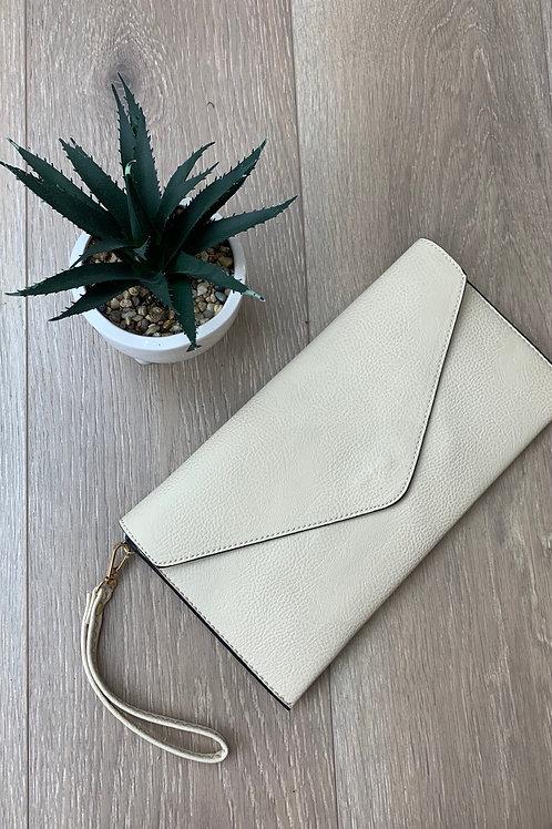 Cream Envelope Clutch Bag