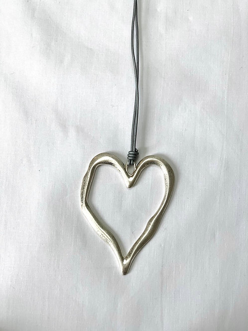 Long Grey Strand Leather Heart Necklace