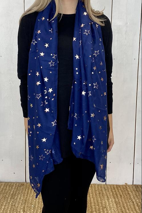 Blue Rose Gold Star Scarf
