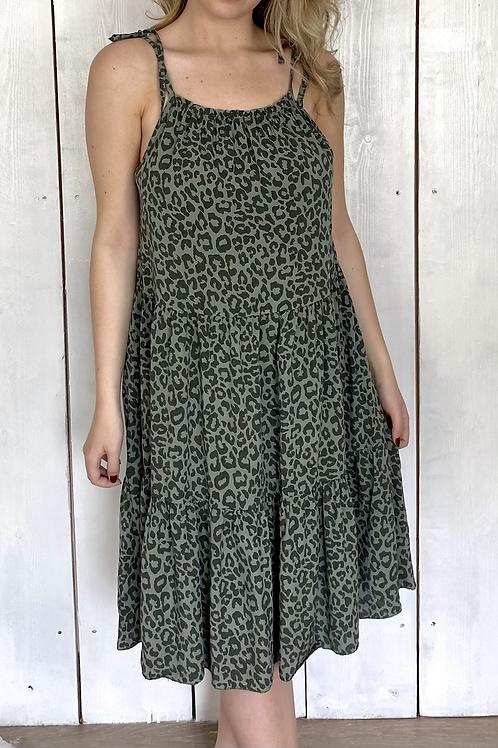 Leopard Tie Strap Tiered Dress