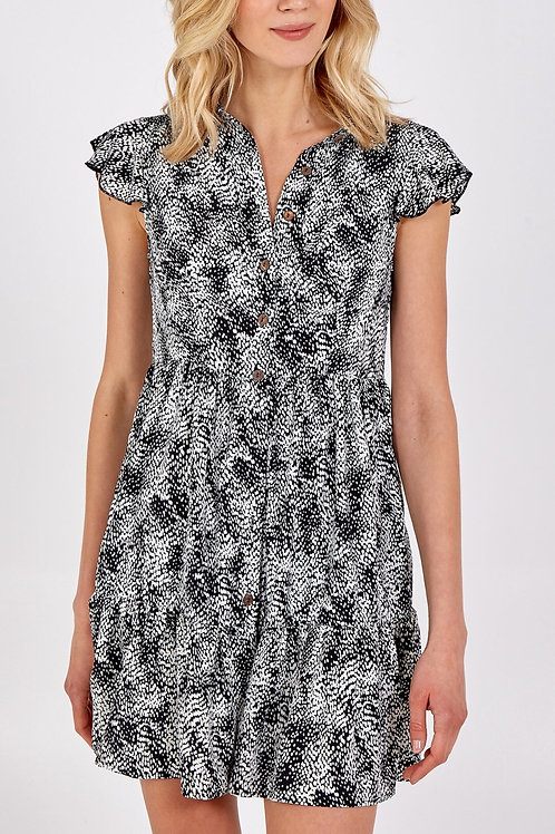 Button Through Frill Detail Dress