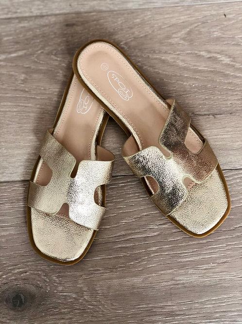 H Slide On Metallic Gold Sandals