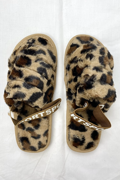 Brown Leopard Sport Open Toe Slipper