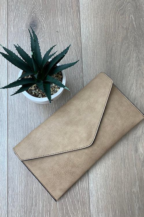 Beige Envelope Clutch Bag