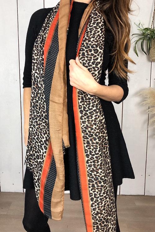 Leopard & Spot Print Scarf With Orange Stripe