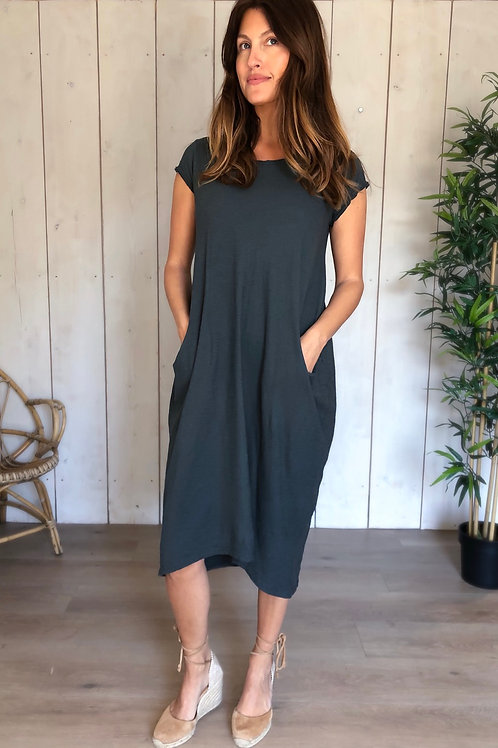 Basic Cotton Dress With Pockets in Charcoal