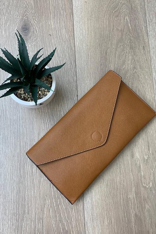 Tan Envelope Clutch Bag