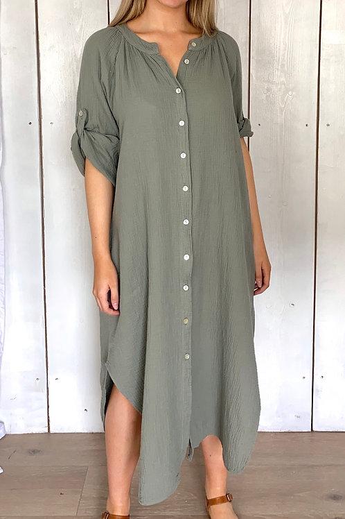 Muslin Button Up Shirt Dress