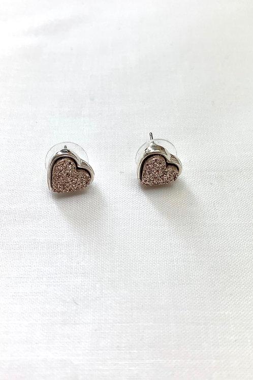 Glitter Heart Studded Earrings