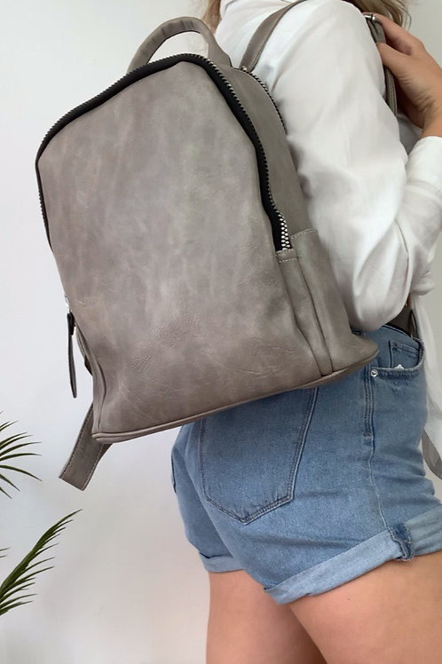 Grey Dusted Leather Backpack