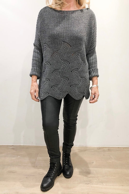 Scallop Edge Knitted Jumper