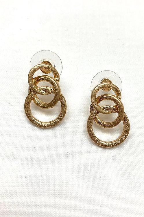 Triple Gold Circle Earrings