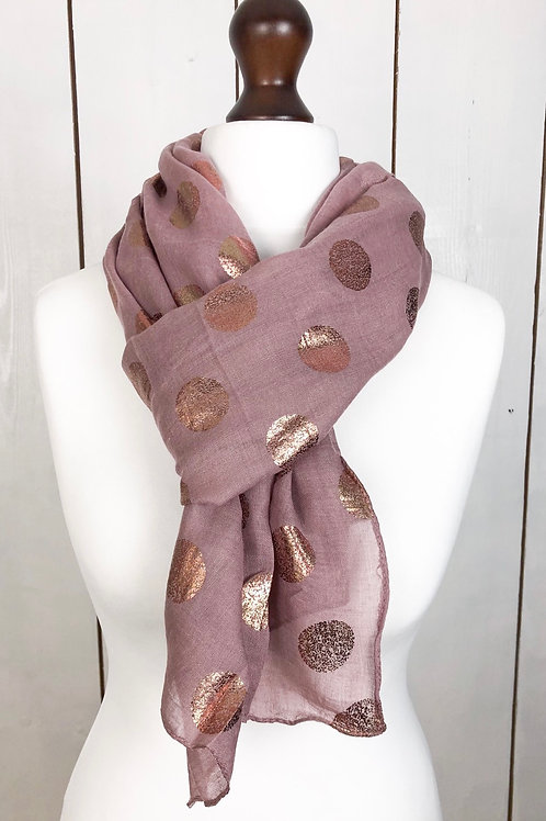 Dusty Pink Scarf With Rose Gold Spots