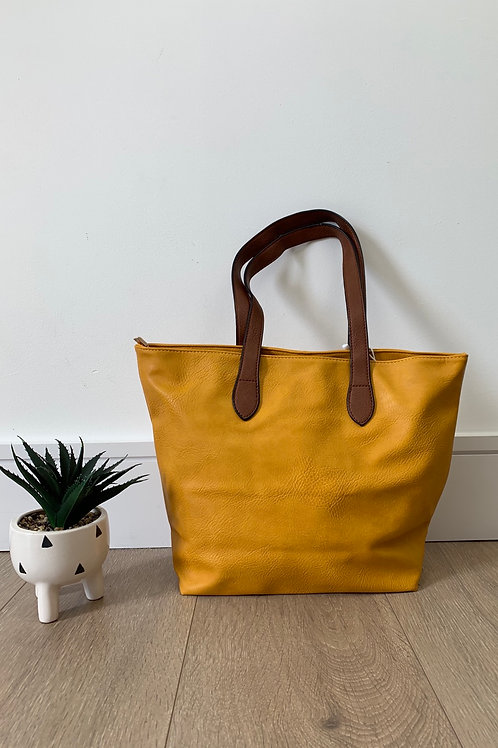 Yellow Tan Strap Handbag