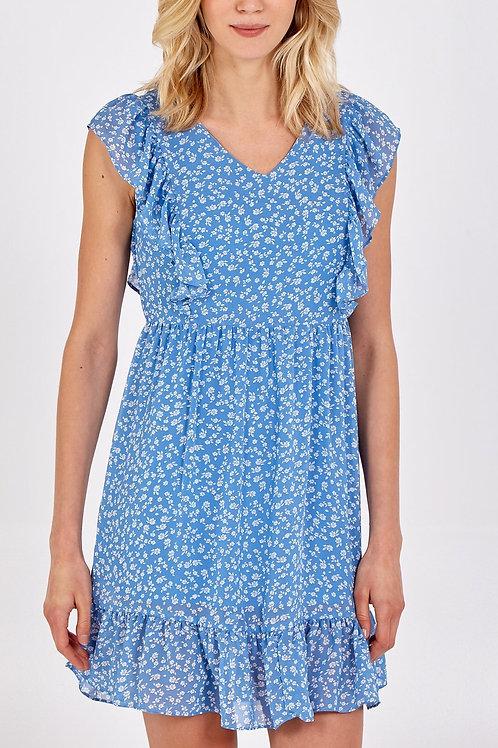 Cornflower Blue Frill Mini Dress