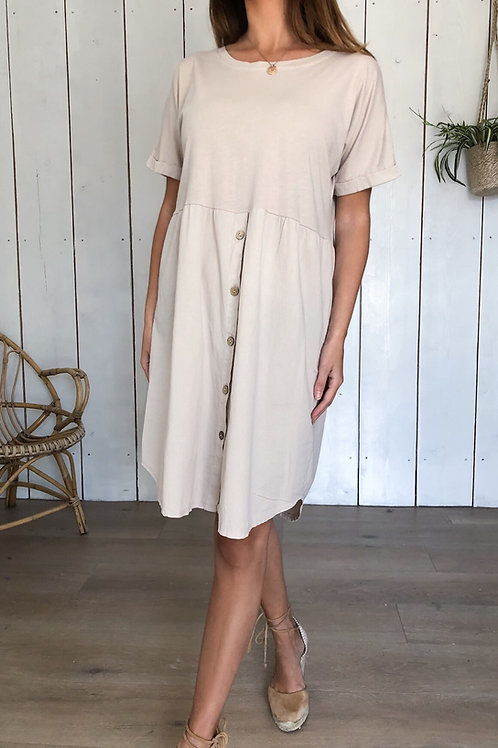 Button T-Shirt Dress in Beige