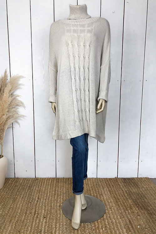 Cable Knit Oversized Roll Neck Jumper