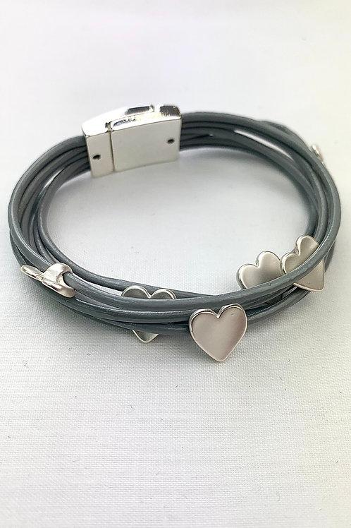 Silver Heart Grey Stand Bracelet