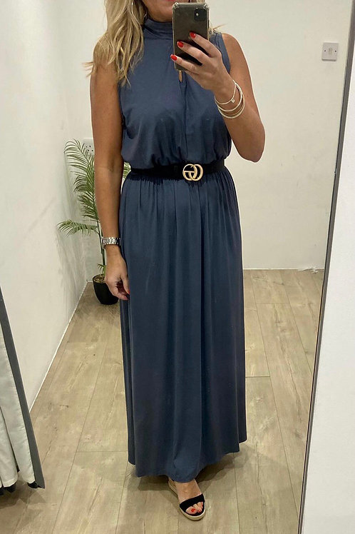 Soft Jersey Maxi With Tie Neck