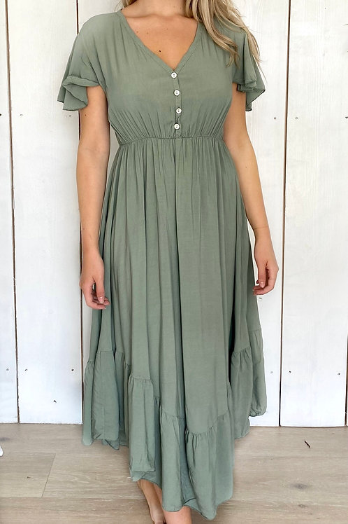 V-Neck Midi Button Dress