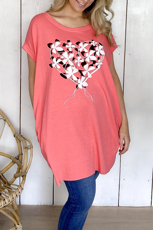 Oversized Floral Heart T-Shirt