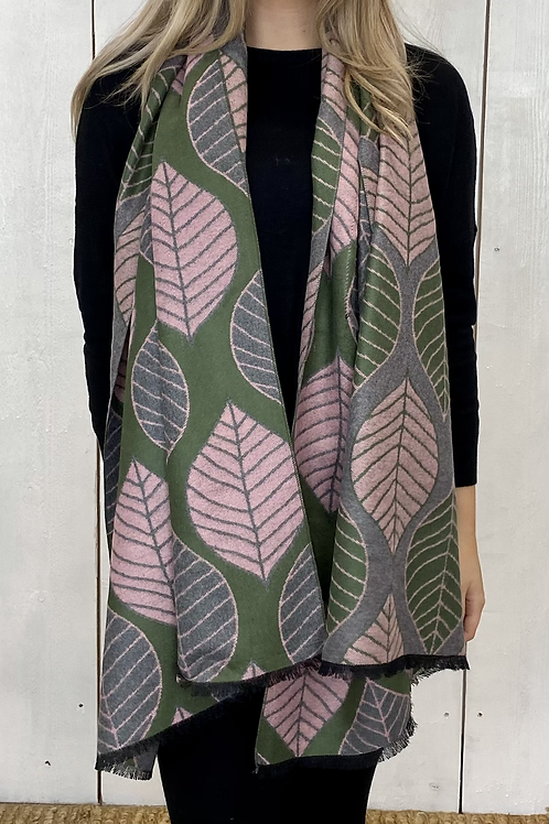 Leave Print Scarf In Pink, Grey and Green