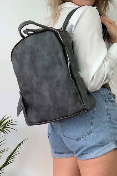 Charcoal Dusted Leather Backpack