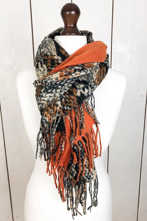 Orange & Snake Print Tassel Scarf