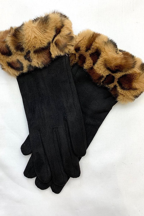 Leopard Trim Gloves