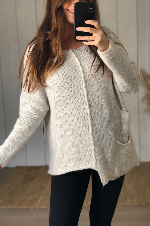 Soft Knit Asymmetric Jumper With Pockets