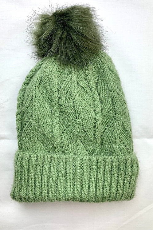 Green Fluffy Knitted Bobble Hat