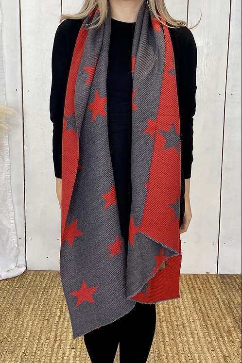 Red/ Grey Soft Ribbed Star Scarf