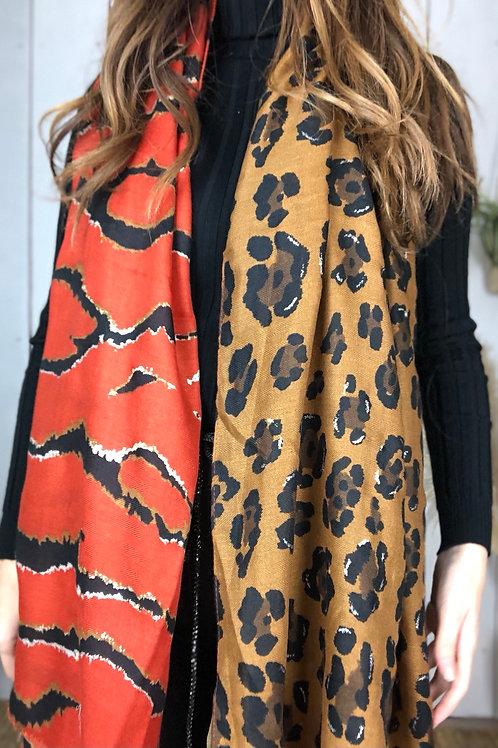 Tiger & Leopard Print Orange & Tan Scarf