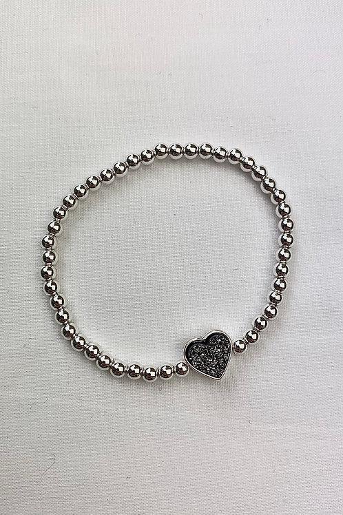 Black Glitter Heart Bracelet