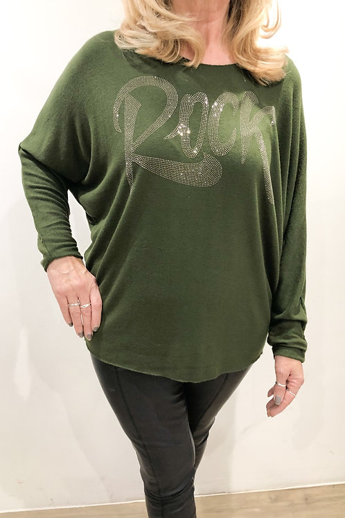 Khaki Soft Touch Embellished 'Rock' Top