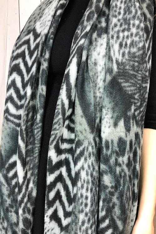 Animal Print Scarf in Grey/Black