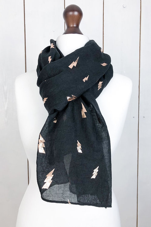 Black Scarf With Rose Gold Lightning Bolts