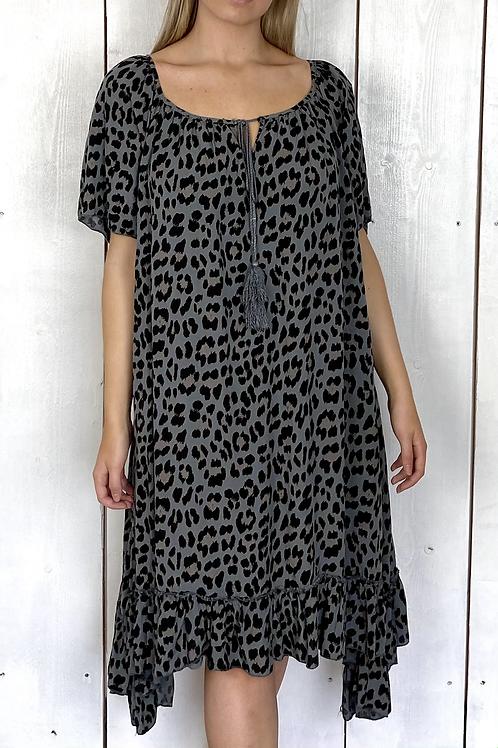 Leopard Print Open Neck Dress