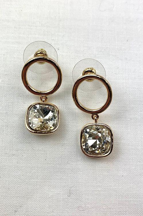 Gold Single Diamond Circle Earrings