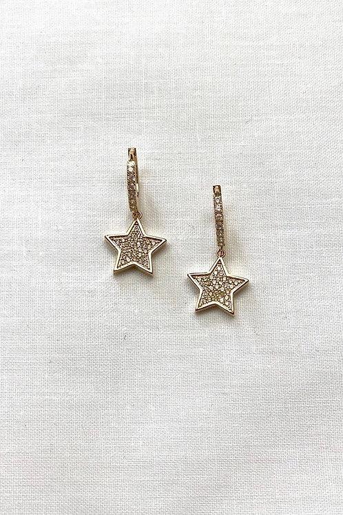 Gold Diamond Star Hoops