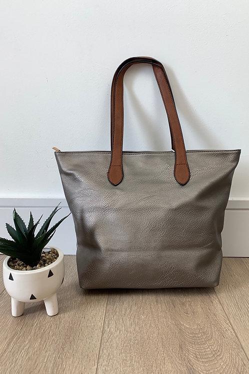 Silver Tan Strap Handbag