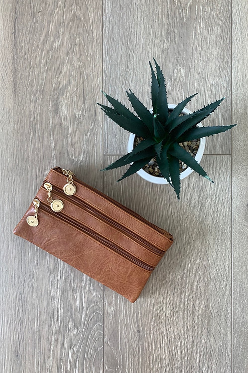 Brown Coin Zip Clutch