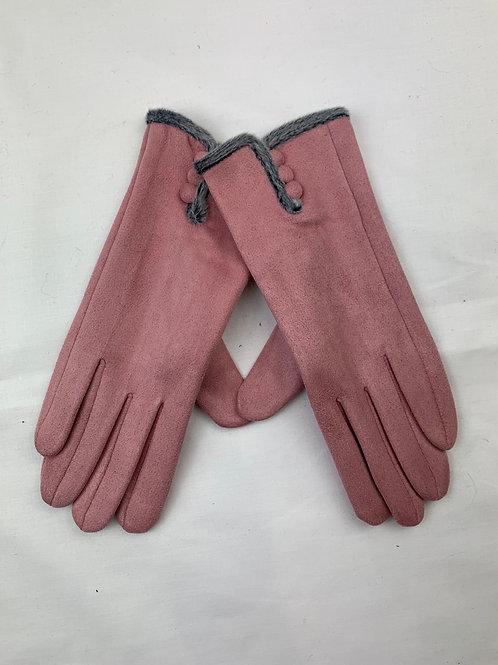 Pink Button Gloves