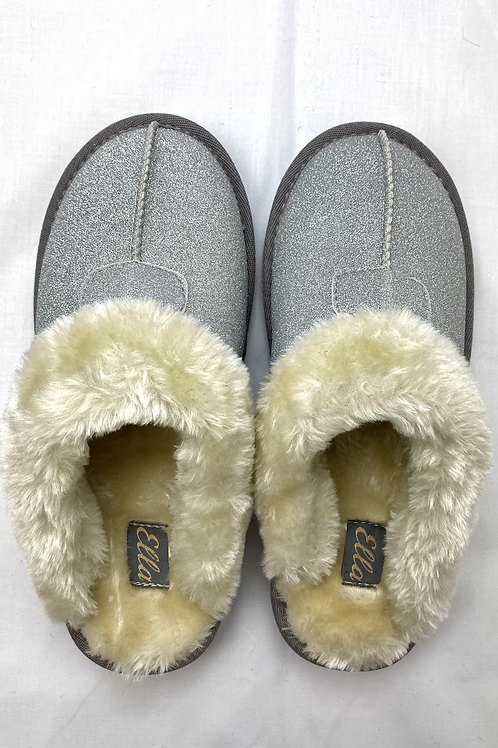 Silver Sparkle Fluffy Slippers